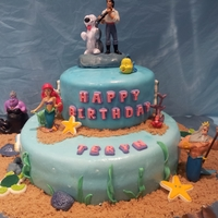 Under The Sea marshmallow fondant covered cake.... little.Mermaid for my daughters 5 the birtgday