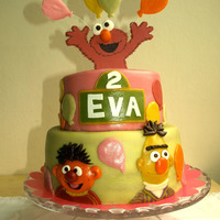 Sesamestreet  For my very own daughter. She loves Sesamestreet, so this cake is for her. Ofcourse Elmo on top, because he is the sweetest of them all....