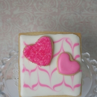 Heart Valentine's Cookie 2 heart cookies attached to square. Royal icing