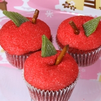 Red Apple, Red Velvet Cupcakes Red velvet cupcakes that look like a red apple! For a teacher's birthday.