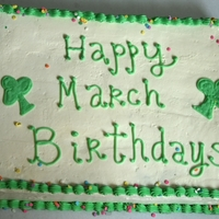 First Sheet Cake Happy March Birthdays for an ER