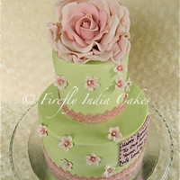 A Rose Is A Rose Is A Rose.   Both tiers coated in buttercream. inspired by Leslea Matsis.