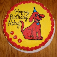 "Clifford Birthday Cake This is two 12"" round cakes stacked. Wilton buttercream frosting was used, and the Clifford picture is a buttercream transfer. This..."