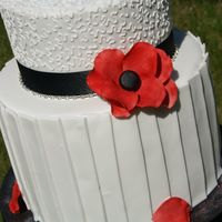 Engagement Cake   Double barrel bottom tier with fondant pleats