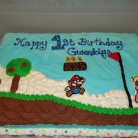 Mario Cake Mario and Peach are frozen butter cream transfers.