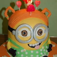 Girl Minion Cake My daughter wanted a girl minion so this was what I came up with
