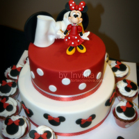 Minnie Mouse Birthday Cake And Cupcakes.   Minnie mouse birthday cake and cupcakes.