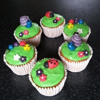 Cupcake Bugs And Creepy Crawlies! Vanilla flavour cupcakes with buttercream icing and fondant creatures! Made for a birthday tea party