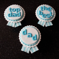 Fathers Day Rosette Cupcakes Vanilla cupcake with buttercream icing and fondant Rosettes