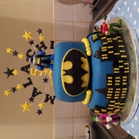 Batman 2 Tier Birthday Cake 2 tier birthday cake for my nephew. This is the first time I've used dowels and is one of the few times I've used fondant. Pretty...