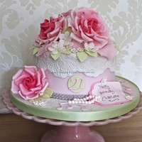 Vintage 21St Cake Vintage roses with edible lace and a bit of bling x