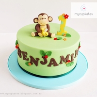 Cheeky Monkey 1St Birthday Cake  Cute cheeky monkey b-day cake for Benjamin.It's a 7inch chocolate cake and the monkey figurines is inspired by brilliant ' little...
