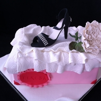 Shoe Box And Rose 10x8 shoe box cake with gumpaste shoe and david austin rose