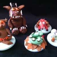 "Gruffalo Gang sugarpaste models of gruffalo and gang to go onto 6"" cake and 4 cupcakes"