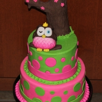 Owl Cake  First tier lemon cake with lemon curd filling, second tier is chocolate cake with raspberry filling, all covered with buttercream and...