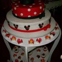 Minnie cake, cupcakes and sweets modeled