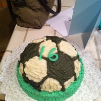 Soccer Ball Cake Cake for my boyfriend's sixteenth birthday party <3 He loves soccer more than anything!