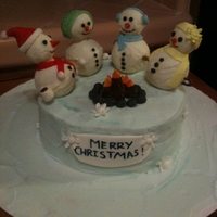 Snowmen! White chocolate snowmen! Inspired by a cake I saw on CC.