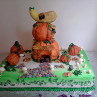 First Birthday Cake For My Son totally edible cake from the pumpkins to the mushrooms and stones