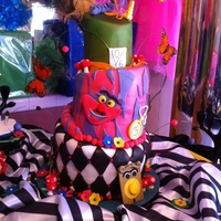 Topsy Turvy Alice In Wonderland Baby Shower My first topsy turvy cake. 6', 9', 14' layers, the assembled cake stood 3 feet tall. all fondant pieces.. (thank you cake...