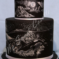 Northwest Themed Cake My painter decided to challenge himself with this Northwest themed cake by painting free hand white on black. No prints or stencils. His...
