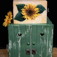 Farm Cake Fondant Farm cake with green food-color painted lower panels and cabinet doors, and topped by a free-hand painted and country dinnerware...