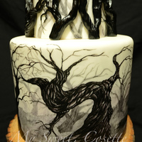 Forest Cake Free hand painting and fondant branches. No print, stencils, transfers, air brushing.