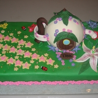 Tinkerbell At Home Made this cake for a friend whose daughter was turning 3. Base is half chocolate and half strawberry, house is lemon, and the smash cake (...