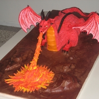 Fire Breathing Dragon Made this for a coworkers wifes birthday. She is into dragons and it is the year of the dragon. Dragon is devils food cake with gumpaste...