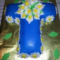 Cross Cake *I made this for my cousin that was being ordained. Daisies and calla lilies are fondant.