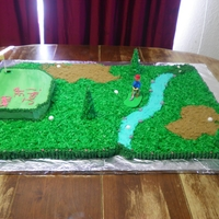 Golf Course  THis was a FUN cake! Four sheet cakes, buttercream icing, coconut for grass, brown sugar for sandtraps, and trees are sugar cones, iced and...