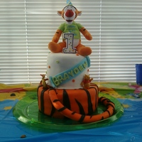 Tigger Birthday Cake Used a small stuffed animal as a topper. The rest is marshamallow fondant