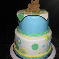 Baby Shower Cake Baby shower cake for a baby boy. My fist tiered fondant cake!