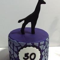 Giraffe Birthday Cake  Birthday cake for a friend turning 50 who loves the color purple and giraffes. 6-inch white velvet cake filled with vanilla bean mousseline...