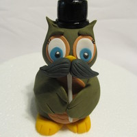 Mustache Owl Cake topper for a 'mustache' themed party. Mr. Owl is holding a mustache on a stick, much like the party goers will be. :) Made...