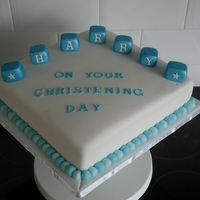 Boys Christening My friend wanted a plain christening cake with just name blocks, was quite pleased with how it turned out