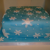 Snowflakes Fruit cake with glacier blue shimmer all over and shimmer snowflakes, with royal iced drops.