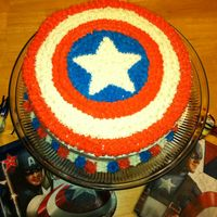 Captain America Cake decorated with buttercream