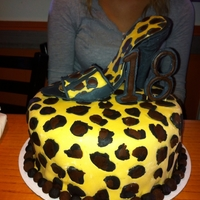 Leopard Spot Cake With Shoe The cake is covered in fondant. The shoe and 18 are gumpaste.