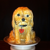 Puppy Cake Puppy's. head is Rice Krispie treats, body is cake.