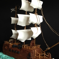 Pirate Ship Everything is edible with the exception of the masts and ropes. I used gum paste, fondant, and modeling chocolate.