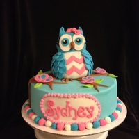 Owl Birthday Cakes Cake is covered in buttercream with fondant accents. Owl is RKT covered in fondant.