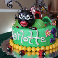 Ladybug Birthday Ladybug Birthday Cake ..LB made with rkt, covered in mmf. 11 yr. old daughter made these little ladybugs =)