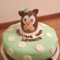 "Owl Baby Shower ""Welcome Baby Lennox"" Not my design - the person who wanted the cake found this idea and was set on having it. Not sure who'..."