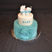 Baby Shower Cake With Fondant Rosets. Hello this is baby shower cake.