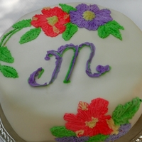 Crewel Embroidery Cake Crewel Embroidery Cake- on fondant