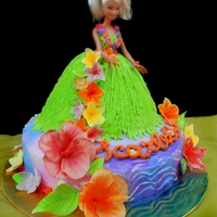 Hawaiian Doll Cake Hawaiian Doll cake- gumpaste hibiscus and plumeria flowers. A bit of ocean too.