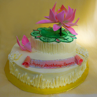 Sathya Sai Baba's Birthday Cake Gumpaste Lotus and Painted Fondant Logo of the Sathya Sai Organization.