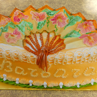 Gumpaste Fan Cake Gumpaste fan and royal icing painting.
