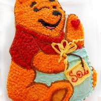 Winnie The Pooh One of the most beloved characters, Winnie the Pooh, takes shape in this cake, buttercream